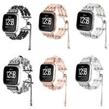 Bling Faux Pearl Agate Gem Bead Band Bracelet For Fitbit Versa Smart Watch Strap