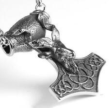 Pendant Mens Punk Biker Necklace 24'' 316L Stainless steel thor hammer design