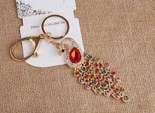 Peacock Crystal Diamante Rhinestone Bag Charms Handbag Keyring Pendant Key Chain