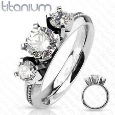 Solid Titanium Triple CZ Gem Engagement Ring Band (FL316)