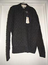Men's BILLABONG Stormy CARDIGAN Sweater Gray NWT Zip Up Crew Wool blend L 1538