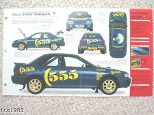 Subaru IMPREZA RALLY RACER SPEC SHEET/Brochure:C.McRAE