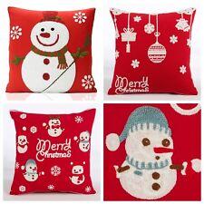 Christmas Xmas Festive Crochet Knit Embellished Snowman Heavy Rich Woven Cushion