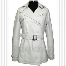 Felicia White Ladies Womens Leather Jacket Trench Coat