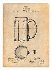 1876 Beer Mug Patent Print Art Drawing Poster 18 X 24