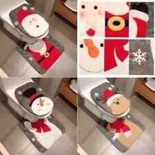 2 Pcs Santa Claus Toilet Seat Cover Rug Bathroom Set Decoration Xmas Gift BL3