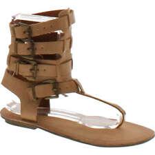 Liliana AVIS-3 Women Leatherette Strappy T-Strap Gladiator Thong Sandal - Nude