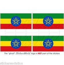 ÄTHIOPIEN Flagge ÄTHIOPISCHE Afrika Fahne 50mm Vinyl Sticker Aufkleber x4