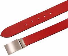 Cintura in cuoio di toro fresato con fibbia a placca a scelta - 35 mm - Rossa