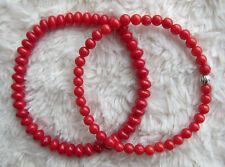 Genuine, Red Coral Gem-stones Bead Bracelets - Unisex.