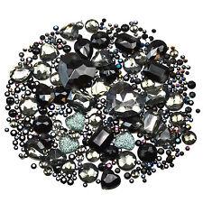 BLACK Mix/Set of Gems Rhinestones Diamantes Crystal Embellishments Craft Decoden