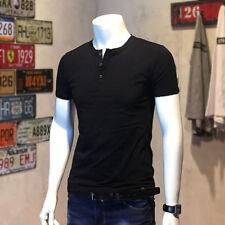 Men Button Neck Slim Fit Henley T-shirt Stretch Short Sleeve Top Tee Cotton New