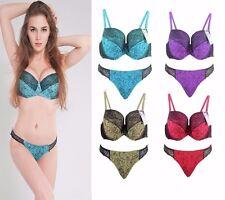 UK Size Women Full Cup Lace Bra Set Padded Bra Thongs Panties Lingerie Underwear