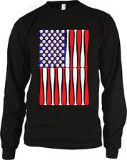Baseball Flag Bats Red White Blue Stars Stripes Americana Long Sleeve Thermal