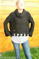 gros pull court boléro laine noir hiver MC PLANET T 36 neuf étiquette Val 160€