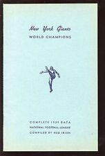 1939 New York Giants NFL Football Data Book Media Guide NRMT