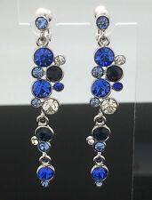 Sapphire Blue Drop Earrings Clip-on or Pierced Crystal Long Wedding Formal 6.5cm