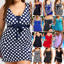 Plus Size Women's Swimsuit Padded Swim Dress Tankini Swimwear Bathing Beachwear