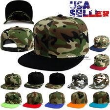 Baseball Camouflage Cap Snapback Hat Tactical Hip Hop CAMO Blank Flat Visor Brim