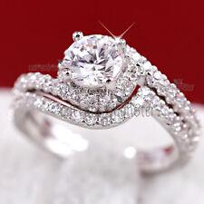 9K GOLD GF WOMEN 2CT SOLID TWIST BAND ENGAGEMENT WEDDING COCKTAIL DRESS RING SET