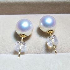 AAAA perlas de Agua Dulce Adorno pendientes botón ORO 750 18kt