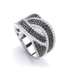 Black Gemstone Cocktail Ring Weave Design Solid Silver 925 Hallmarked J Jaz