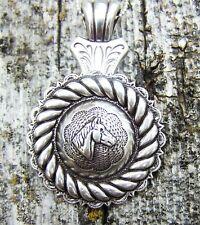 Western Antique Silver Split Bale Concho Pendant//Necklace Adapter