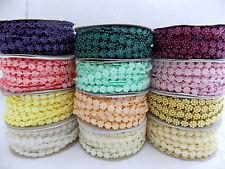 "1/4"" 6.3mm Plastic Flower Flat Beads Trim Roll Spool Molded on Thread 10 yds New"