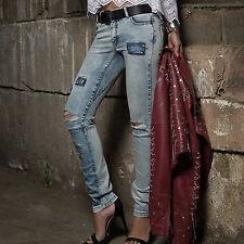 By ALINA Jeans a Sigaretta Pantaloni Donna Jeans Pantaloni hüftjeans Patchwork Jeans Pantaloni XS-S