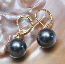 8/10/12/14mm Black  Round south sea shell pearl 14K GP Hook dangle earrings AAA