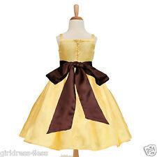 Yellow Belle Wedding Party Bridesmaids Flower Girl Dress 12M 18M 2 3/4 6 8 10 12