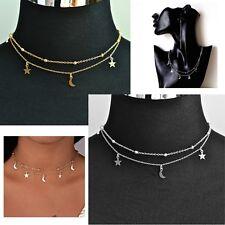 Women's Dainty Beaded Gold Silver Star Moon Choker Necklace Jewellery Gift UK