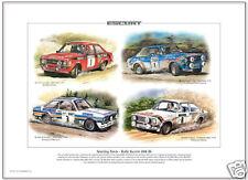 FORD ESCORT Mk2 RALLY CARS  Fine Art Print - RS1800 RAC Welsh Portuguese Rallies