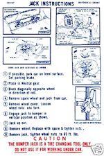 1970 DODGE CORONET/RT/BELVEDERE JACK INSTRUCTION DECAL