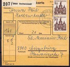 Bund MiNR 461 als MeF auf Paketkartenabschnitt Rothenstadt nach Augsburg