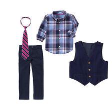 4 Gymboree baby boy formal suits vest pant tie stripe plaid t-shirt 2T set navy