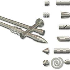 Gardinenstange mit Rohr u. Innenlauf 20 mm Ø, Edelstahl Optik mit Rillenpatrone