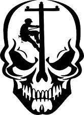 Skull Lineman Electrician Power Pole Car Truck Window Laptop Vinyl Decal Sticker