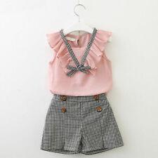 2PCS Kids Baby Girls Outfits Summer Sleeveless T-shirt Tops+Shorts Clothes Set