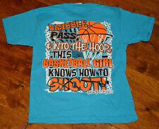 Girl's Girlie Girl Dribble Pass Hoop Shoot Short Sleeve Blue T-Shirt Sizes S, M