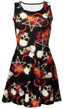 Occult Pentagram Bone Skull Horned Ram Fire Flame Alternative Skater Dress Goth