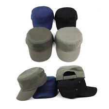 Unisex Mens Womens Unicolor Plain Velcroed Cadet Military Cap Trucker Hats