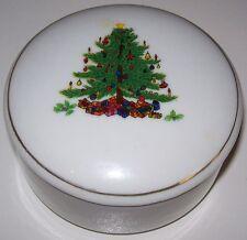 Vintage Christmas Tree Round Porcelain Trinket/Vanity Powder Box