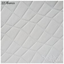 Tessuto Ecopelle Pelle Finta Tappezzeria Rivestimento Trapuntato Bianco 50 CM