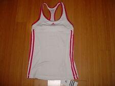 NWT WOMENS ADIDAS CLIMALITE TENNIS RUNNING fitness SPORTS BRA TANK TOP Wht/Pink