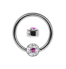 Piercing Jewelry Bcr Titan Ring 1,2mm with 4mm Epoxy Rhinestone Plate,Size