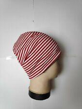 Beanie handmade weiß-rot gestreift