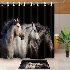 Animal Fabric Shower Curtain set Three Horses Bathroom Curtain 71Inch