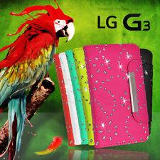 Glitter Wallet Flip BLING Fancy Case Cover For LG G3 + Screen Protector