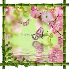 Sticker autocollant Cadre bambou Fleurs et Papillons7155